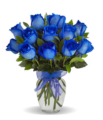 Blue Rose Arrangement (1 dozen blue roses in vase)