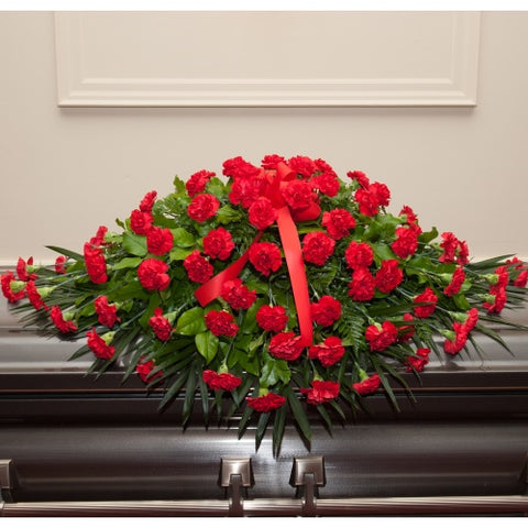 The Dearly Departed™ Casket Spray - Red Carnations