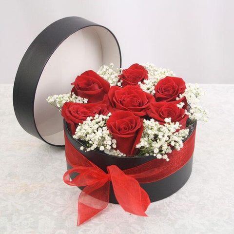 Lucky Seven (7 red roses in presentation box)
