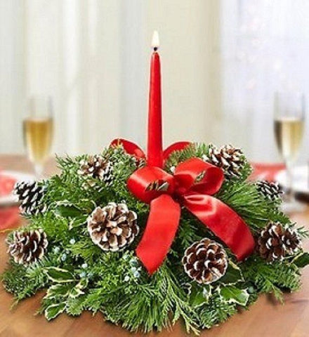 Winter Holiday Single Candle Centerpiece