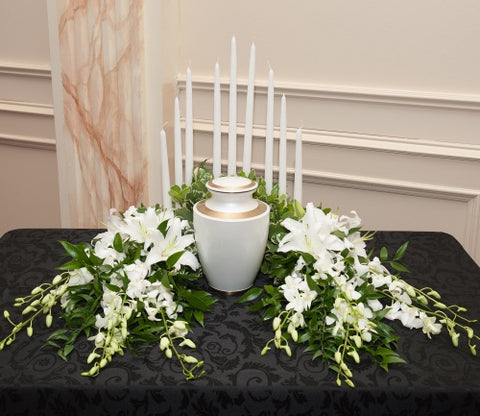 White Lights Urn Flowers with Candles