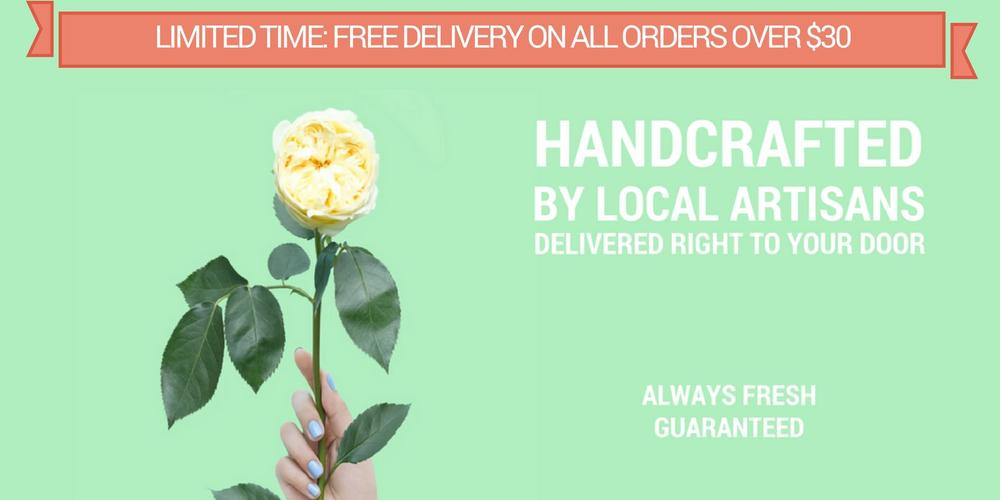 Handcrafted Flowers By Local Artisans. Always Fresh Guaranteed. Florist holding Flower.