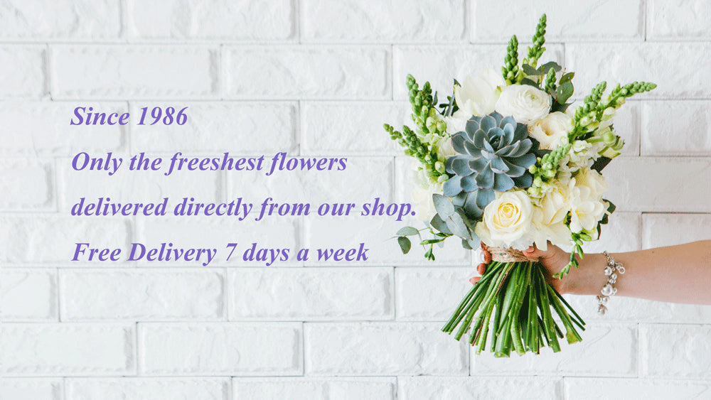 "Flower Delivery Toronto Free Delivery Banner. Includes Free Delivery or Free Shipping promo and the following text ""Handcrafted Flowers By Local Artisans. Always Fresh Guaranteed. Florist holding Flower."""