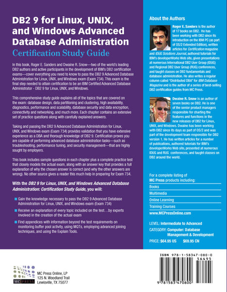 DB2 9 for Linux, UNIX, and Windows Advanced Database Administration (Exam 734)