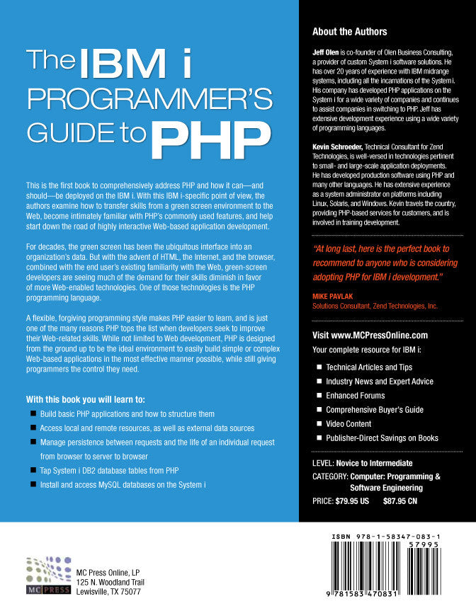The Ibm I Programmer S Guide To Php Mc Press Bookstore border=
