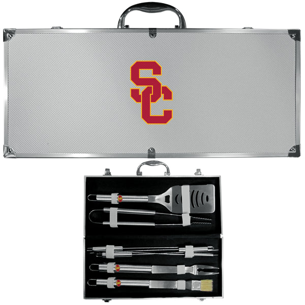 USC Trojans 8 pc Stainless Steel BBQ Set w/Metal Case