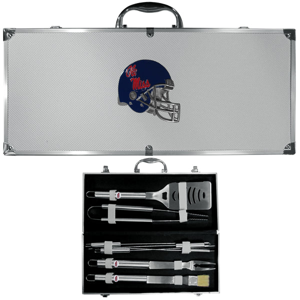 Mississippi Rebels 8 pc Stainless Steel BBQ Set w/Metal Case