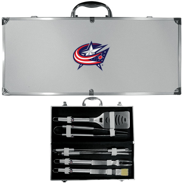 Columbus Blue Jackets® 8 pc Stainless Steel BBQ Set w/Metal Case