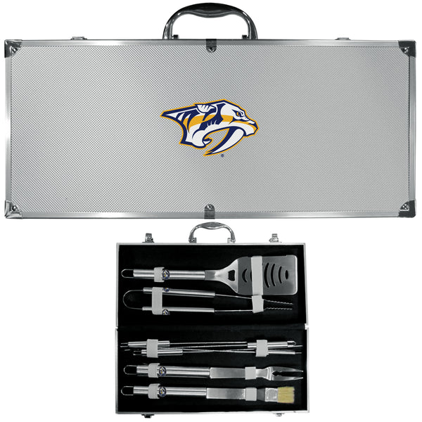 Nashville Predators® 8 pc Stainless Steel BBQ Set w/Metal Case