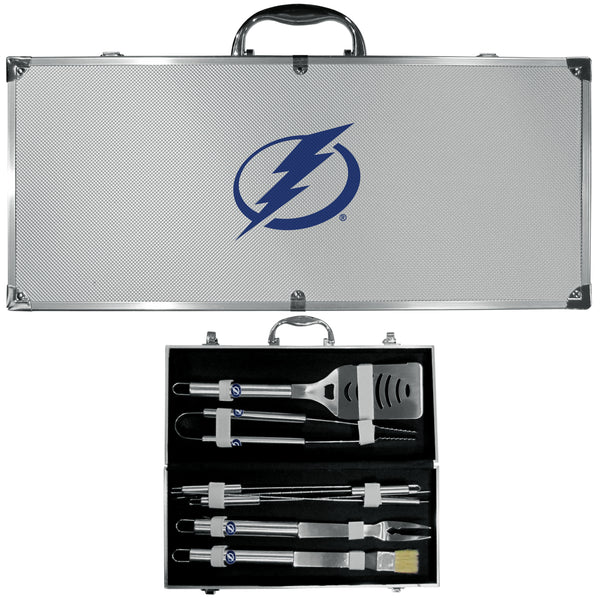 Tampa Bay Lightning® 8 pc Stainless Steel BBQ Set w/Metal Case