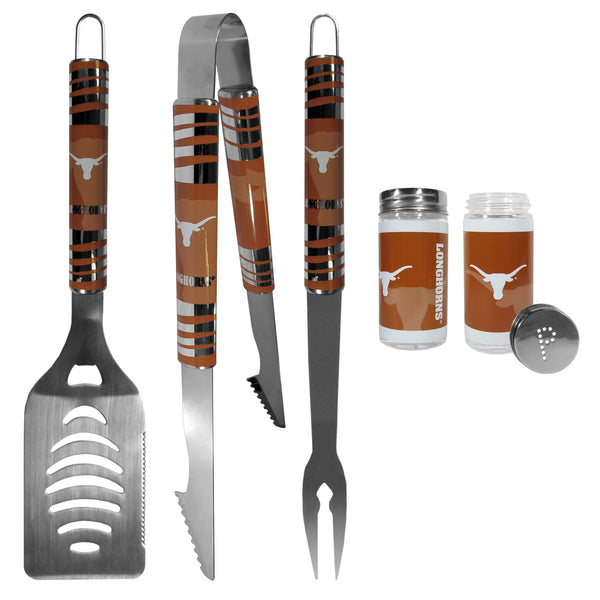 Texas Longhorns 3 pc Tailgater BBQ Set and Salt and Pepper Shaker Set