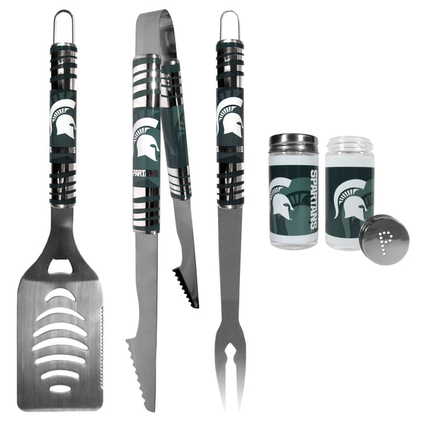 Michigan St. Spartans 3 pc Tailgater BBQ Set and Salt and Pepper Shaker Set