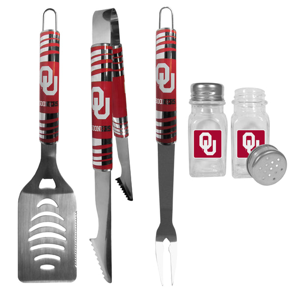 Oklahoma Sooners 3 pc Tailgater BBQ Set and Salt and Pepper Shakers