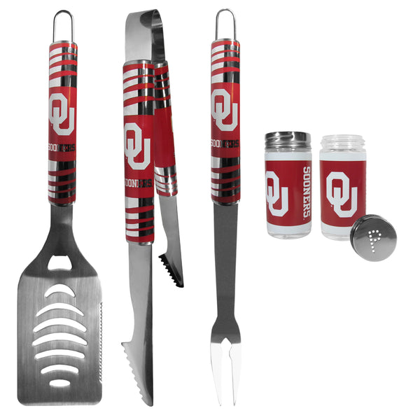 Oklahoma Sooners 3 pc Tailgater BBQ Set and Salt and Pepper Shaker Set