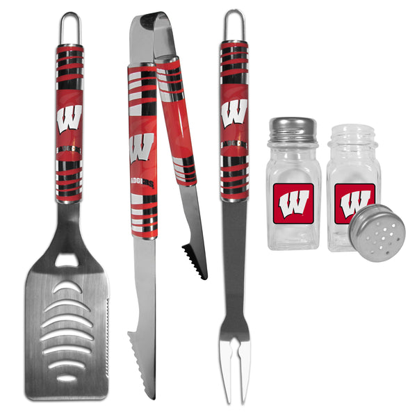 Wisconsin Badgers 3 pc Tailgater BBQ Set and Salt and Pepper Shakers