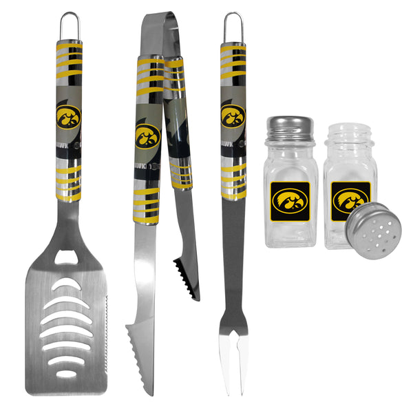 Iowa Hawkeyes 3 pc Tailgater BBQ Set and Salt and Pepper Shakers