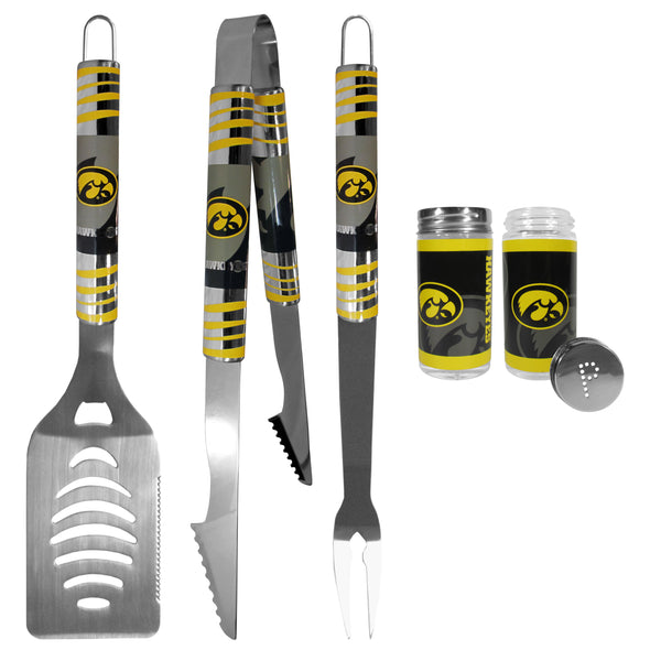 Iowa Hawkeyes 3 pc Tailgater BBQ Set and Salt and Pepper Shaker Set
