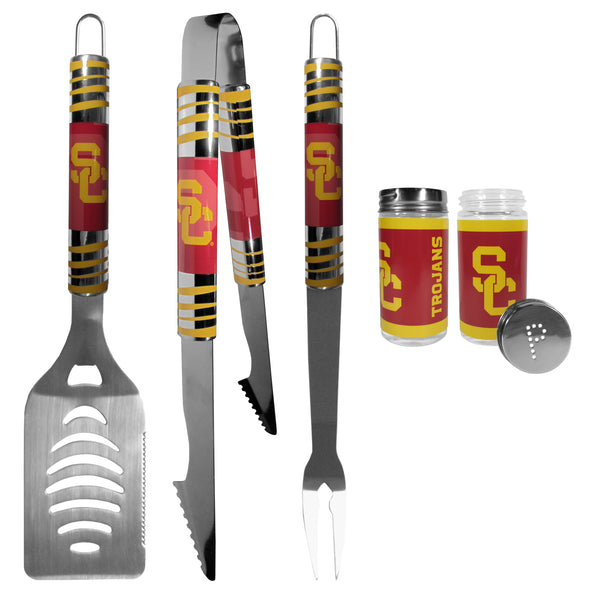USC Trojans 3 pc Tailgater BBQ Set and Salt and Pepper Shaker Set