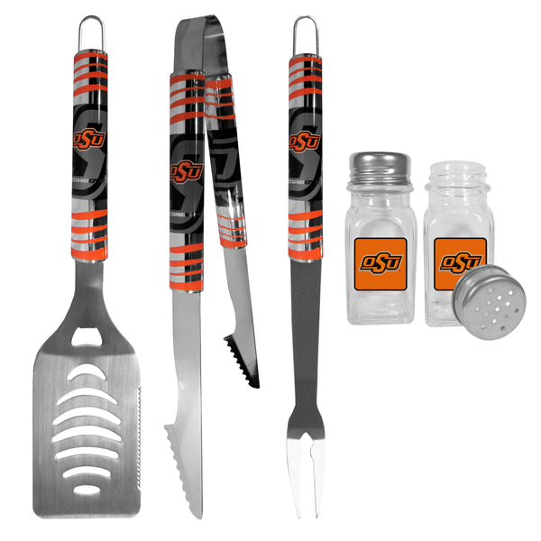 Oklahoma St. Cowboys 3 pc Tailgater BBQ Set and Salt and Pepper Shakers