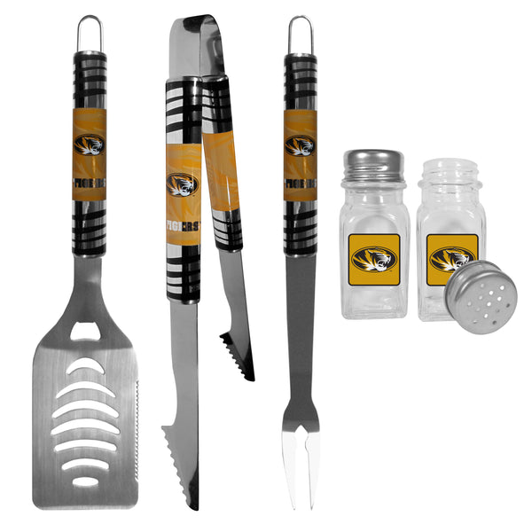 Missouri Tigers 3 pc Tailgater BBQ Set and Salt and Pepper Shakers