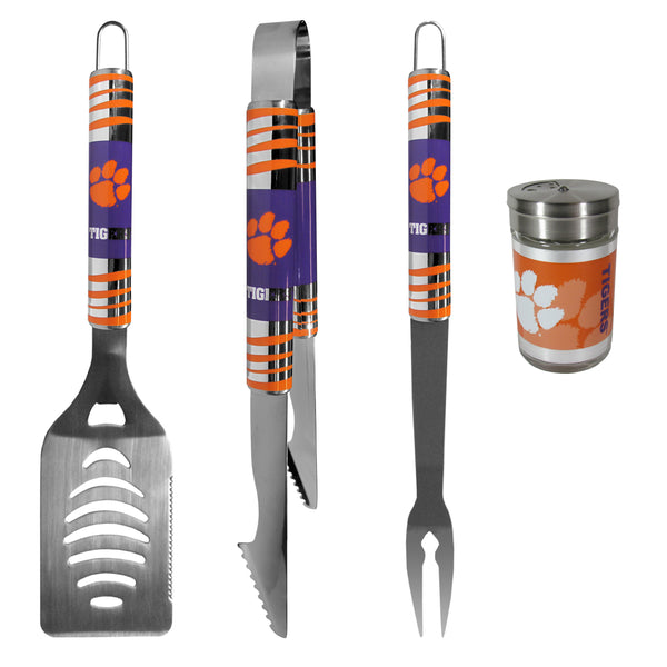 Clemson Tigers 3 pc Tailgater BBQ Set and Season Shaker