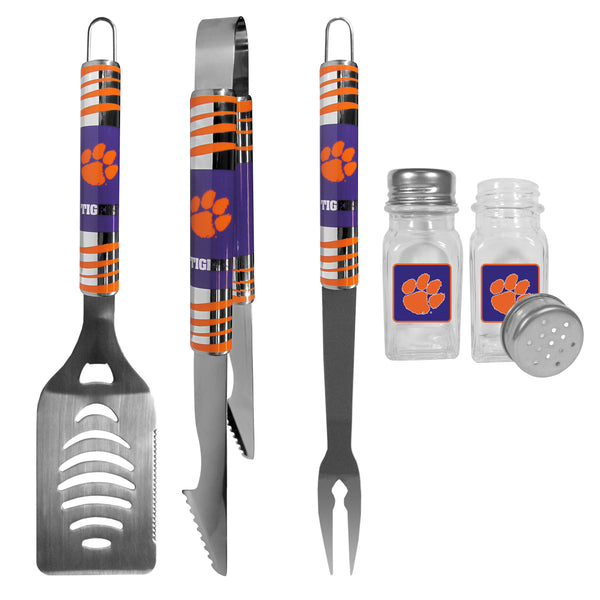 Clemson Tigers 3 pc Tailgater BBQ Set and Salt and Pepper Shakers