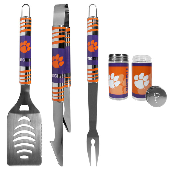 Clemson Tigers 3 pc Tailgater BBQ Set and Salt and Pepper Shaker Set