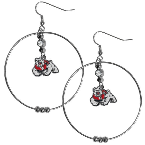 Fresno St. Bulldogs 2 Inch Hoop Earrings