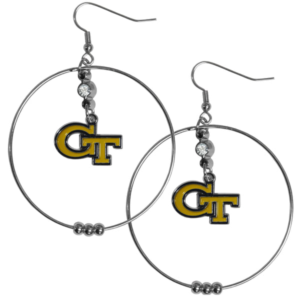 Georgia Tech Yellow Jackets 2 Inch Hoop Earrings