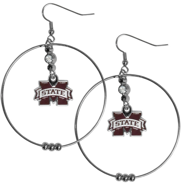 Mississippi St. Bulldogs 2 Inch Hoop Earrings