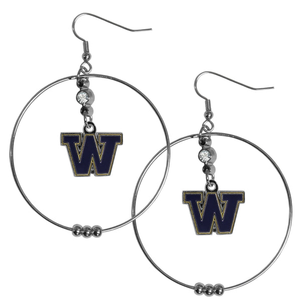 Washington Huskies 2 Inch Hoop Earrings