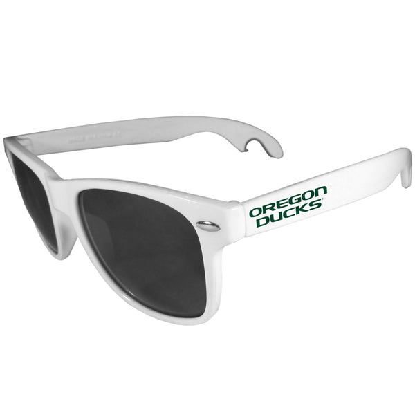 Oregon Ducks Beachfarer Bottle Opener Sunglasses, White