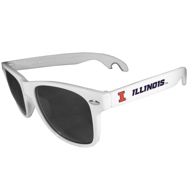 Illinois Fighting Illini Beachfarer Bottle Opener Sunglasses, White