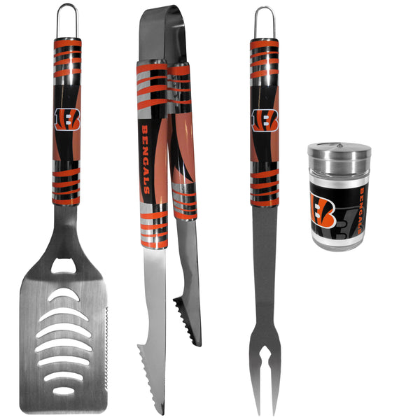 Cincinnati Bengals 3 pc Tailgater BBQ Set and Season Shaker