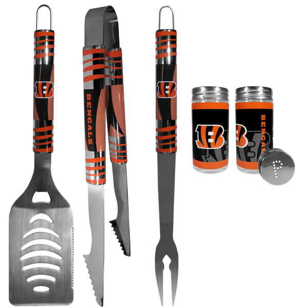Cincinnati Bengals 3 pc Tailgater BBQ Set and Salt and Pepper Shaker Set