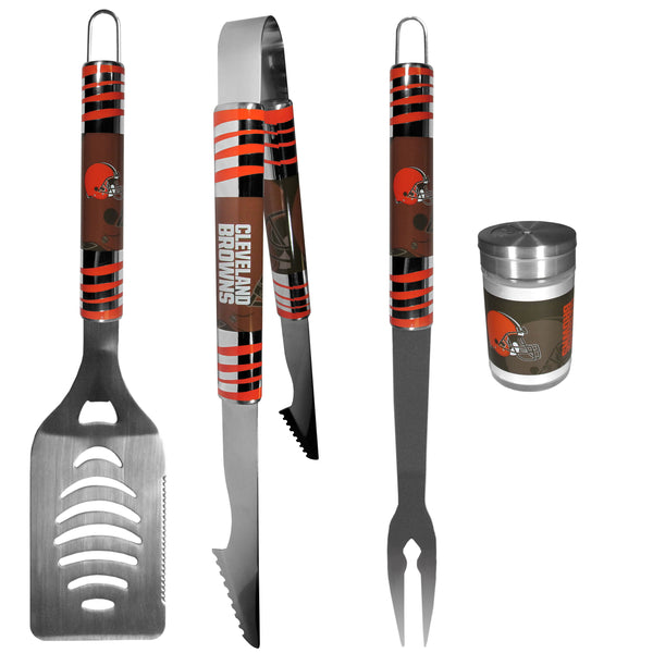 Cleveland Browns 3 pc Tailgater BBQ Set and Season Shaker
