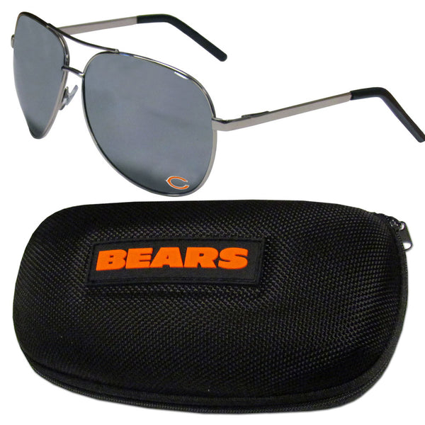 Chicago Bears Aviator Sunglasses and Zippered Carrying Case