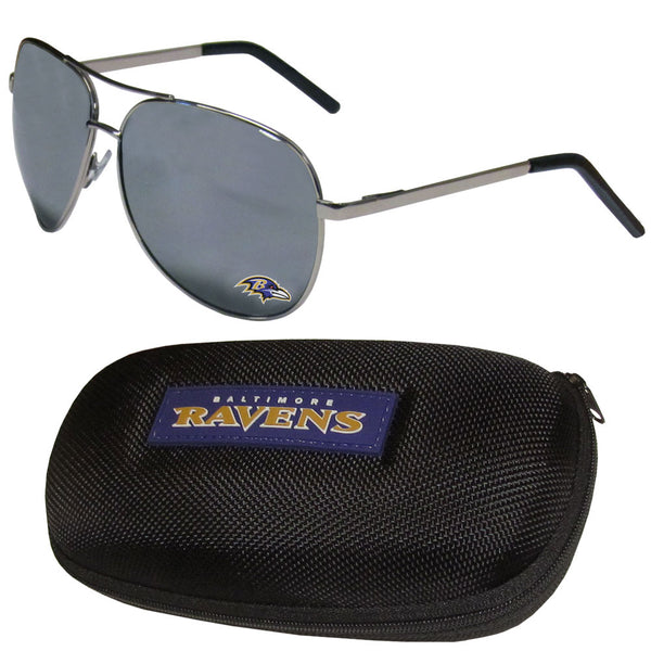 Baltimore Ravens Aviator Sunglasses and Zippered Carrying Case