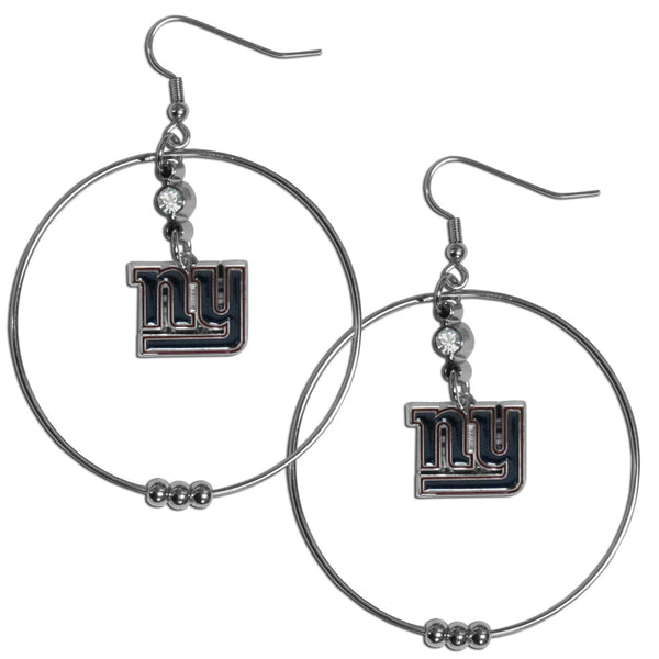 New York Giants 2 Inch Hoop Earrings