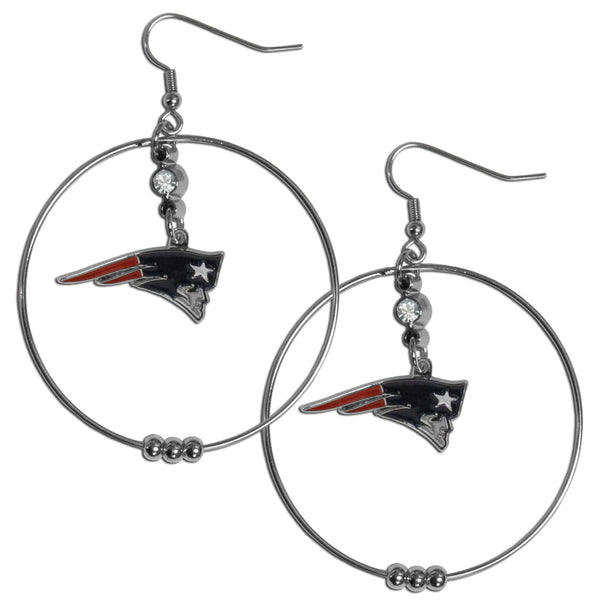 New England Patriots 2 Inch Hoop Earrings