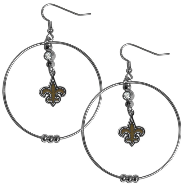 New Orleans Saints 2 Inch Hoop Earrings