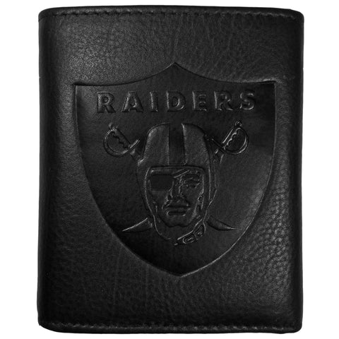 Oakland Raiders Embossed Leather Tri-fold Wallet