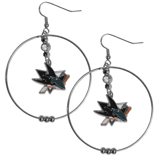 San Jose Sharks® 2 Inch Hoop Earrings