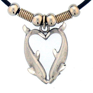 Dolphin Heart Adjustable Cord Necklace