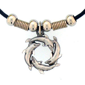Dolphin Circle Adjustable Cord Necklace