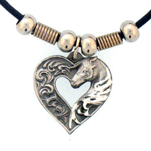 Horse in Heart Adjustable Cord Necklace
