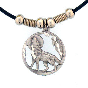 Howling Wolf Adjustable Cord Necklace