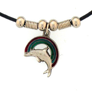 Rainbow & Dolphin Adjustable Cord Necklace