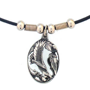 Flying Eagle in Oval Adjustable Cord Necklace