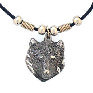 Wolf Head Adjustable Cord Necklace